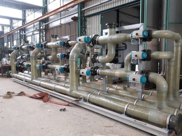 GRP piping on skid for Filters Control Group – 2018